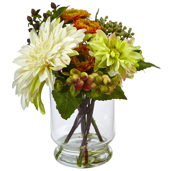 Mixed Dahlia and Mum with Glass Vase - SKU #4588