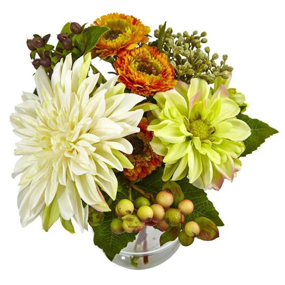 Mixed Dahlia and Mum with Glass Vase - SKU #4588 - 1