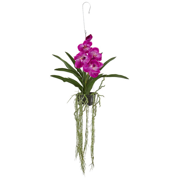 41 Vanda Orchid Hanging Basket Artificial Plant - SKU #4590