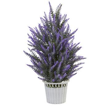 Lavender in White Planter Artificial Plant - SKU #4591