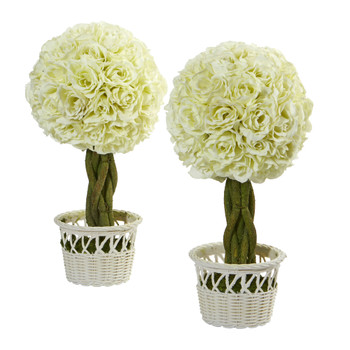 13 Rose Topiary in White Pot Artificial Plant Set of 2 - SKU #4592-S2