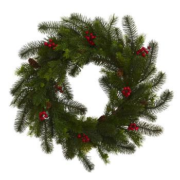 24 Pine and Berry Wreath - SKU #4594