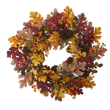 24 Oak Leaf Acorn Pine Wreath - SKU #4598