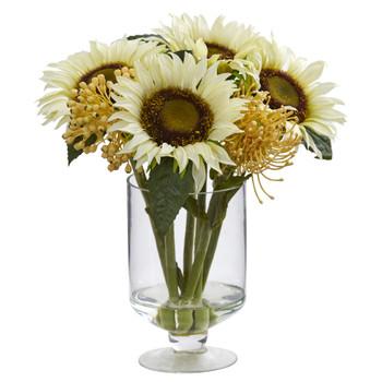 12 Sunflower Sedum Artificial Arrangement in Vase - SKU #4599
