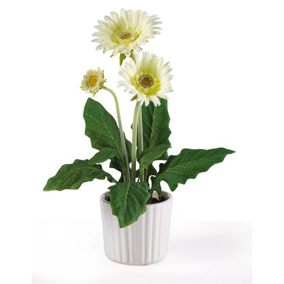 Gerber Daisy w/White Vase Set of 6 - SKU #4600 - 5