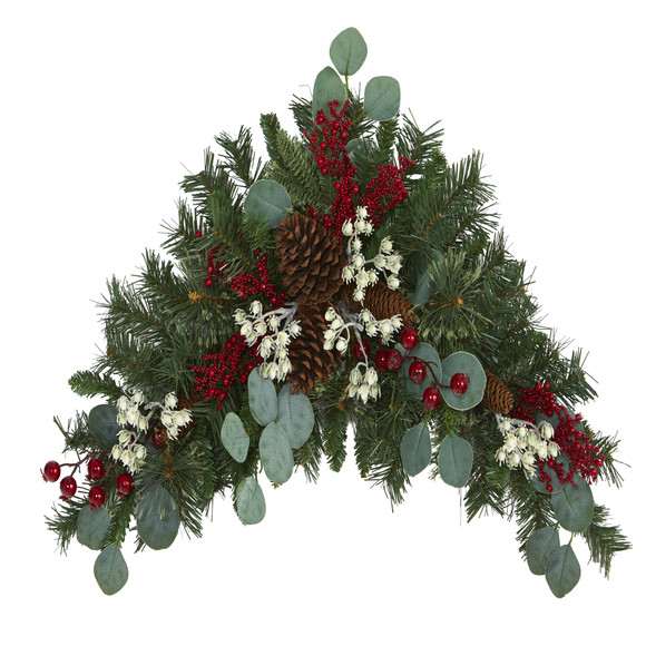 28 Eucalyptus and Pine Artificial Swag with Berries and Pine Cones - SKU #4607