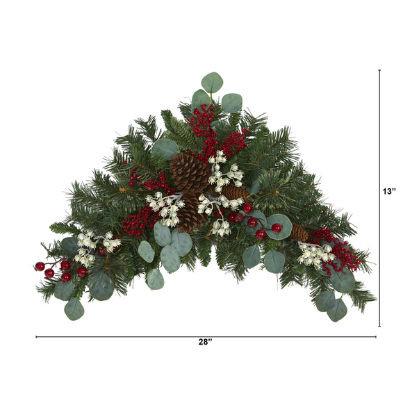 28 Eucalyptus and Pine Artificial Swag with Berries and Pine Cones - SKU #4607 - 1