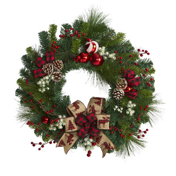 24 Christmas Pine Artificial Wreath with Pine Cones and Ornaments - SKU #4608