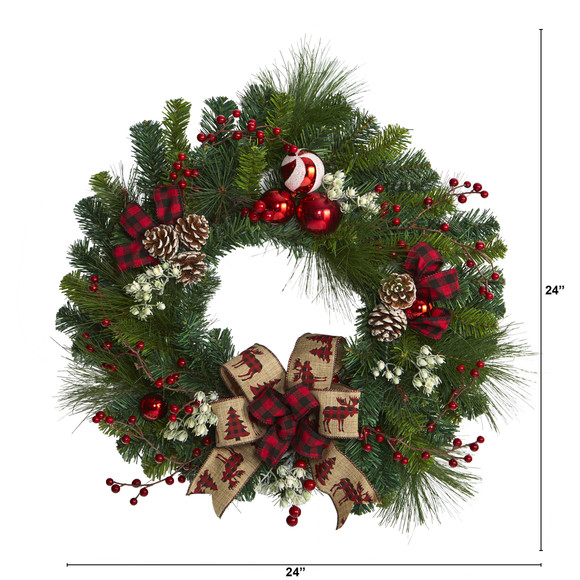 24 Christmas Pine Artificial Wreath with Pine Cones and Ornaments - SKU #4608 - 1