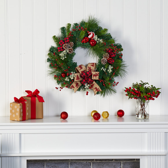 24 Christmas Pine Artificial Wreath with Pine Cones and Ornaments - SKU #4608 - 2