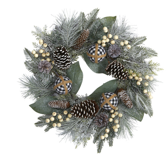 24 Snow Tipped Holiday Artificial Wreath with Berries Pine Cones and Ornaments - SKU #4609