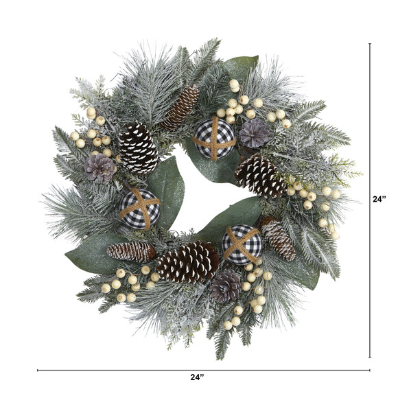 24 Snow Tipped Holiday Artificial Wreath with Berries Pine Cones and Ornaments - SKU #4609 - 1