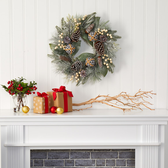 24 Snow Tipped Holiday Artificial Wreath with Berries Pine Cones and Ornaments - SKU #4609 - 2