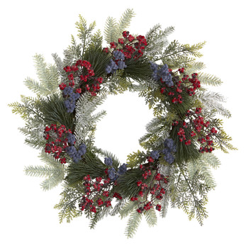 24 Pine and Cedar Artificial Wreath with Berries - SKU #4610