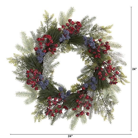 24 Pine and Cedar Artificial Wreath with Berries - SKU #4610 - 1