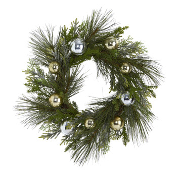26 Sparkling Pine Artificial Wreath with Decorative Ornaments - SKU #4619