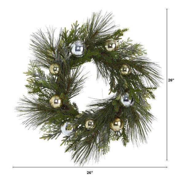 26 Sparkling Pine Artificial Wreath with Decorative Ornaments - SKU #4619 - 1