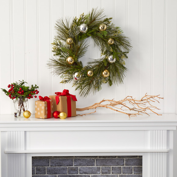 26 Sparkling Pine Artificial Wreath with Decorative Ornaments - SKU #4619 - 2