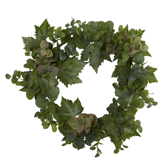 24 Grape Leaf and Eucalyptus Artificial Wreath - SKU #4621