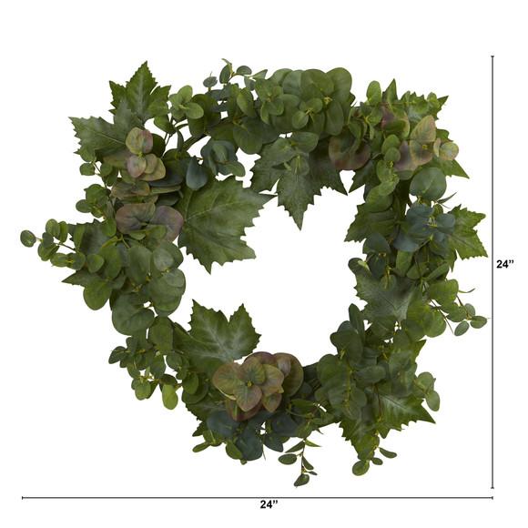 24 Grape Leaf and Eucalyptus Artificial Wreath - SKU #4621 - 1