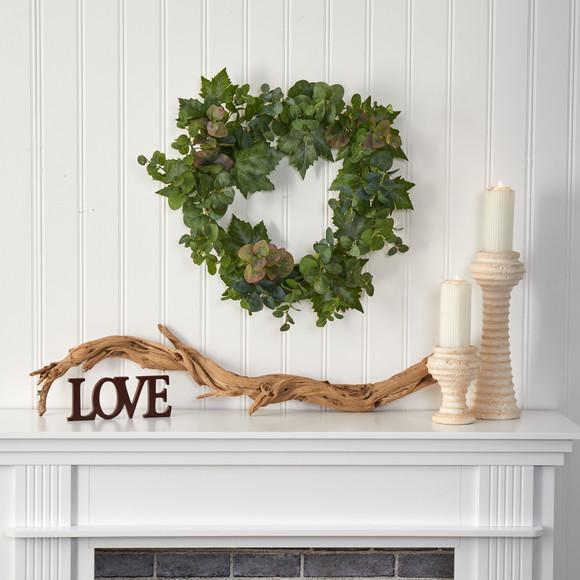 24 Grape Leaf and Eucalyptus Artificial Wreath - SKU #4621 - 2