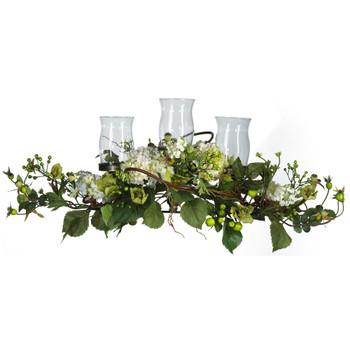 Hydrangea Triple Candleabrum Centerpiece - SKU #4634-CR