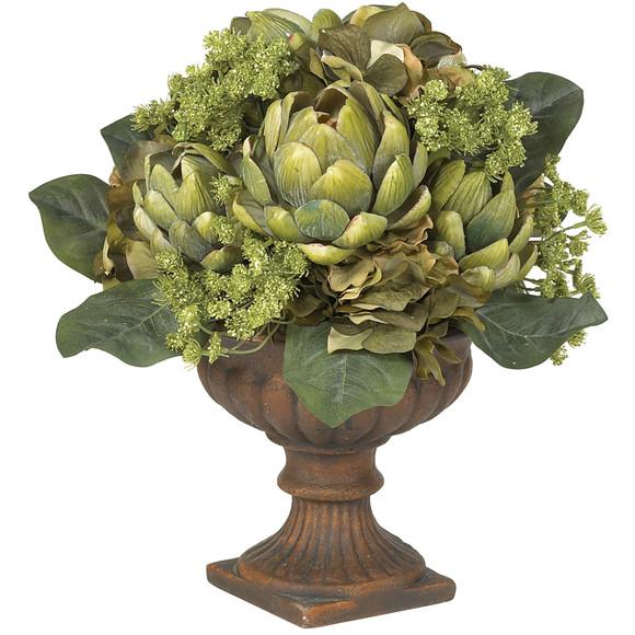 Artichoke Centerpiece Silk Flower Arrangement - SKU #4635