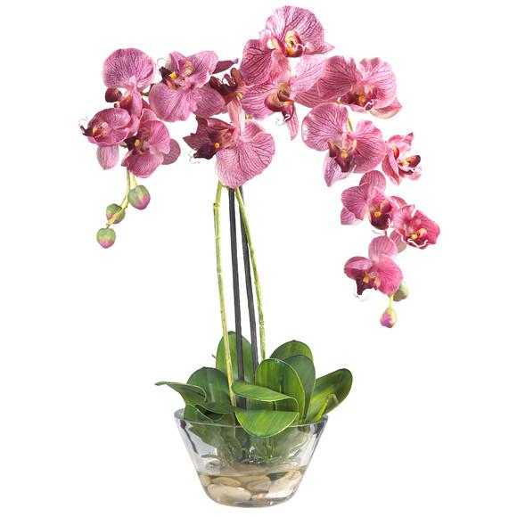 Phalaenopsis w/Glass Vase Silk Flower Arrangement - SKU #4643 - 1
