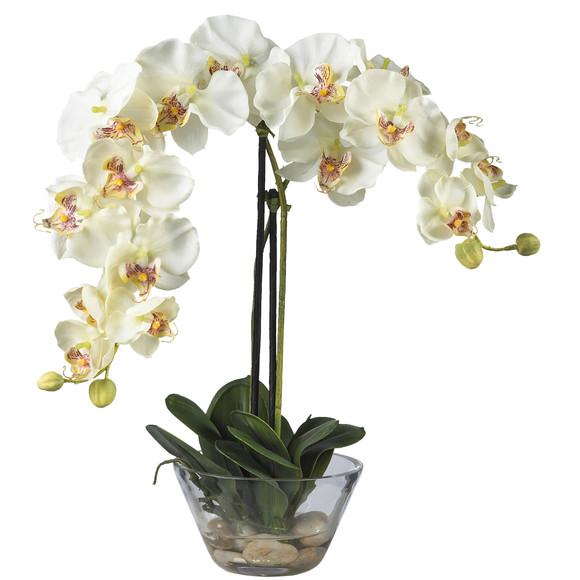 Phalaenopsis w/Glass Vase Silk Flower Arrangement - SKU #4643