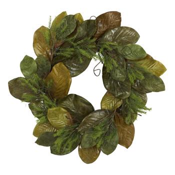 26 Magnolia Leaf Artificial Wreath - SKU #4645