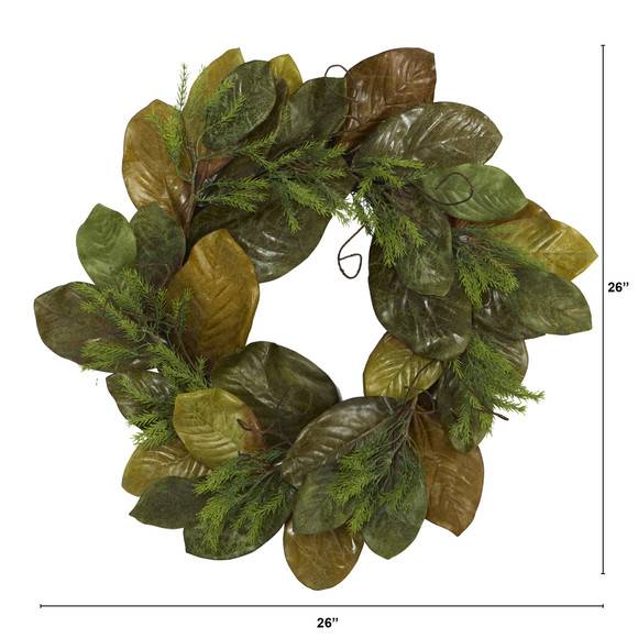 26 Magnolia Leaf Artificial Wreath - SKU #4645 - 1