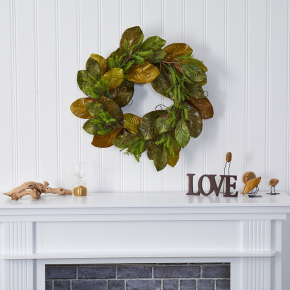 26 Magnolia Leaf Artificial Wreath - SKU #4645 - 2
