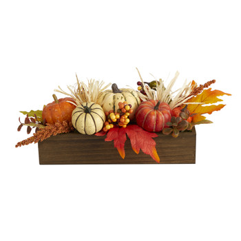 16 Harvest Pumpkin and Berries Artificial Arrangement in Wood Vase - SKU #4650