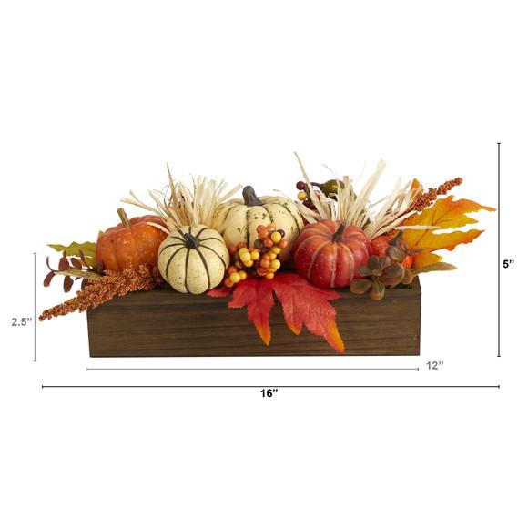 16 Harvest Pumpkin and Berries Artificial Arrangement in Wood Vase - SKU #4650 - 1