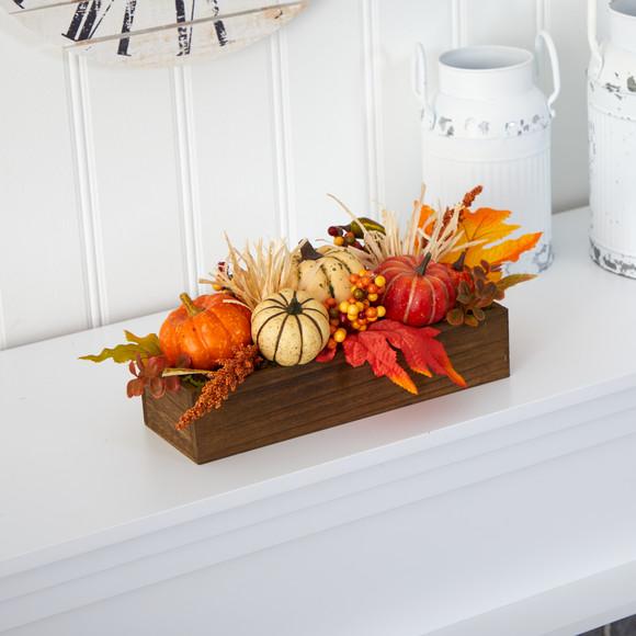 16 Harvest Pumpkin and Berries Artificial Arrangement in Wood Vase - SKU #4650 - 2