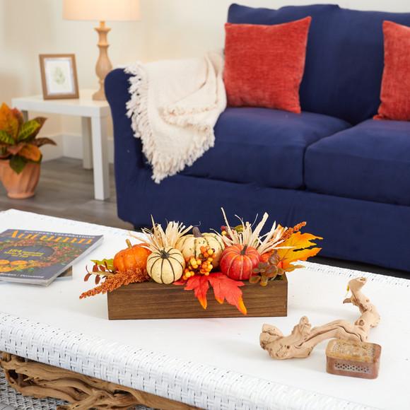 16 Harvest Pumpkin and Berries Artificial Arrangement in Wood Vase - SKU #4650 - 3