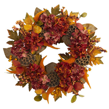 24 Fall Hydrangea Lotus and Berries Artificial Wreath - SKU #4653