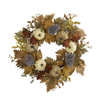 24 Fall Pumpkins Pine Cones and Berries Artificial Wreath - SKU #4655