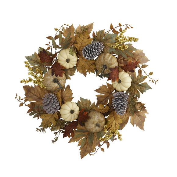 24 Fall Pumpkins Pine Cones and Berries Artificial Wreath - SKU #4655