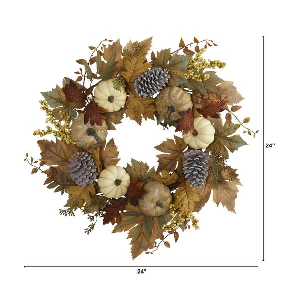 24 Fall Pumpkins Pine Cones and Berries Artificial Wreath - SKU #4655 - 1