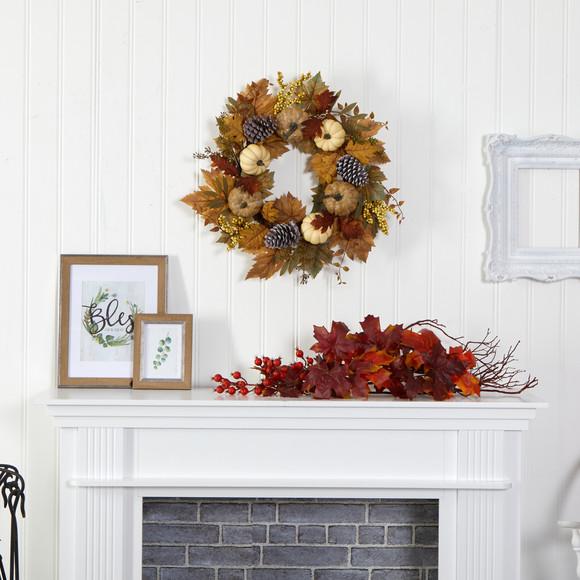 24 Fall Pumpkins Pine Cones and Berries Artificial Wreath - SKU #4655 - 2
