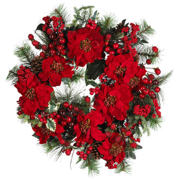 24 Poinsettia Wreath - SKU #4660