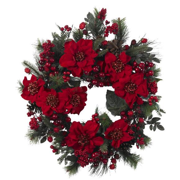24 Poinsettia Wreath - SKU #4660 - 1