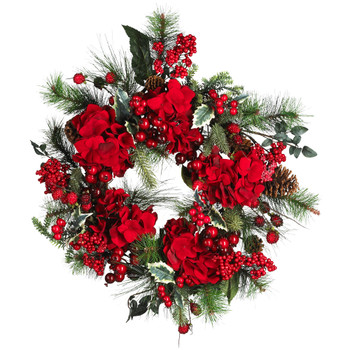 22 Hydrangea Holiday Wreath - SKU #4661