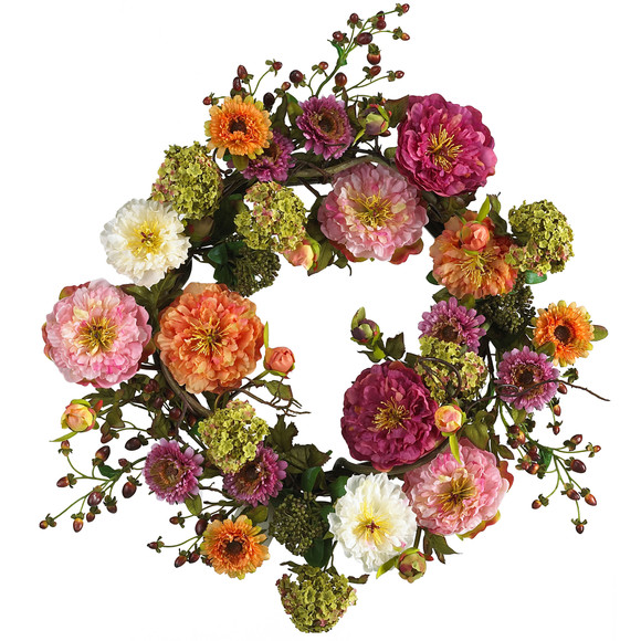 24 Mixed Peony Wreath - SKU #4664