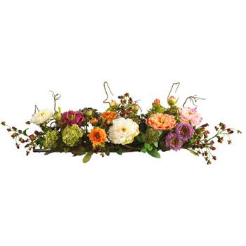 Mixed Peony Centerpiece Silk Flower Arrangement - SKU #4665