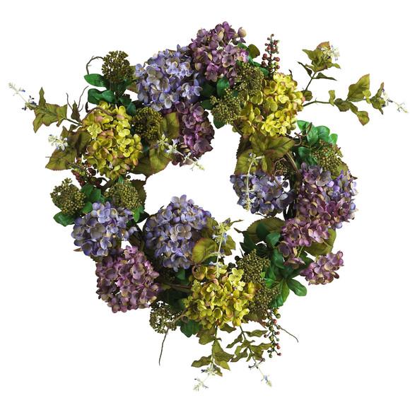 24 Mixed Hydrangea Wreath - SKU #4666