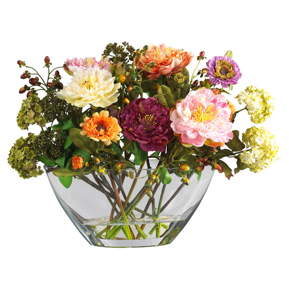Mixed Peony w/Glass Vase Silk Flower Arrangement - SKU #4668