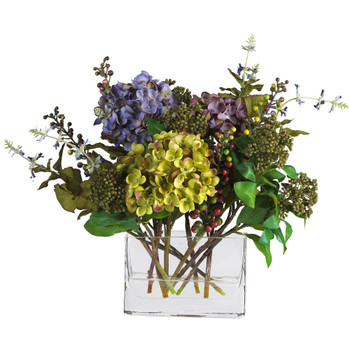 Mixed Hydrangea w/Rectangle Vase Silk Flower Arrangement - SKU #4670