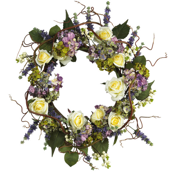 24 Hydrangea Rose Wreath - SKU #4673